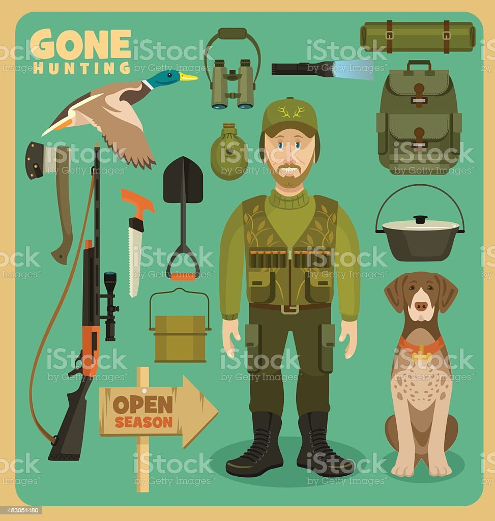 Gone hunting duck vector art illustration
