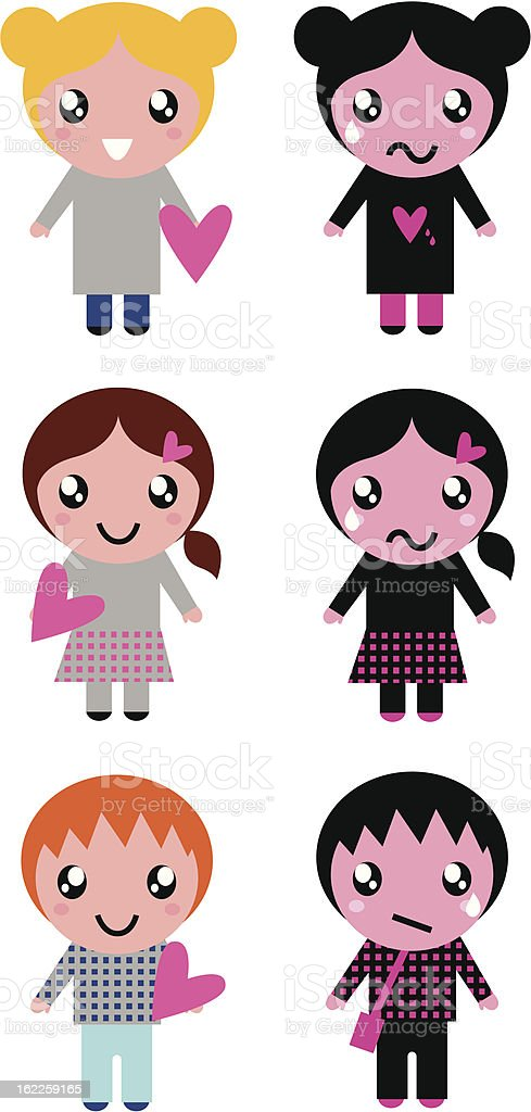 Good and bad kids with hearts isolated on white royalty-free stock vector art