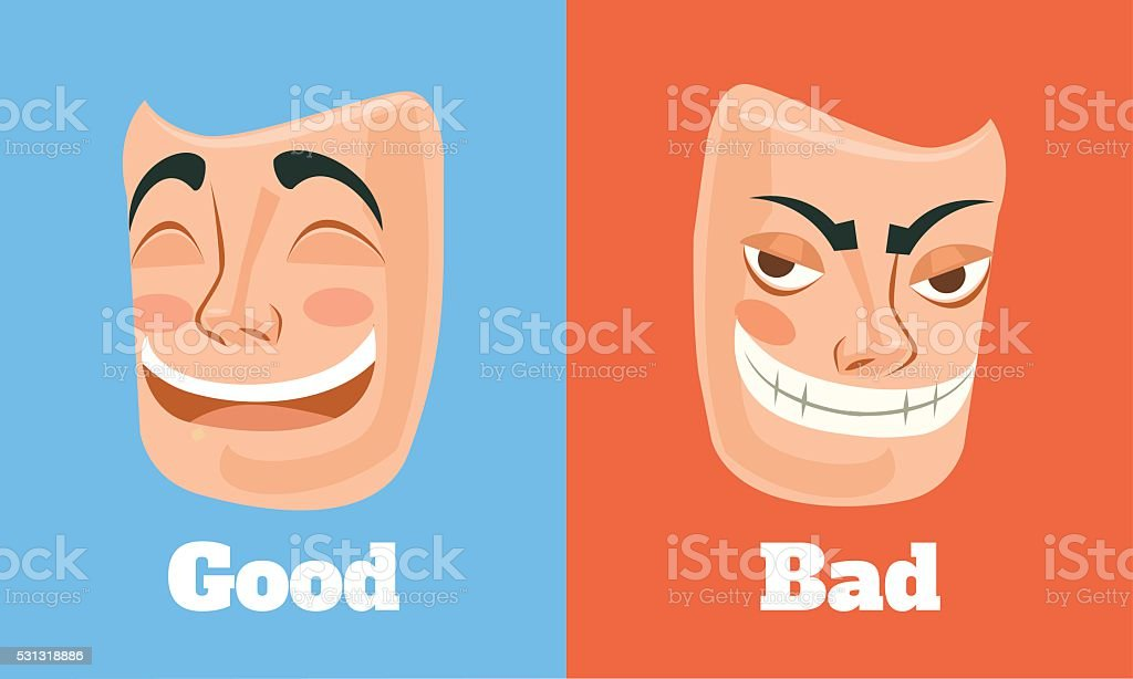 Good and bad mask. Vector flat cartoon illustration vector art illustration
