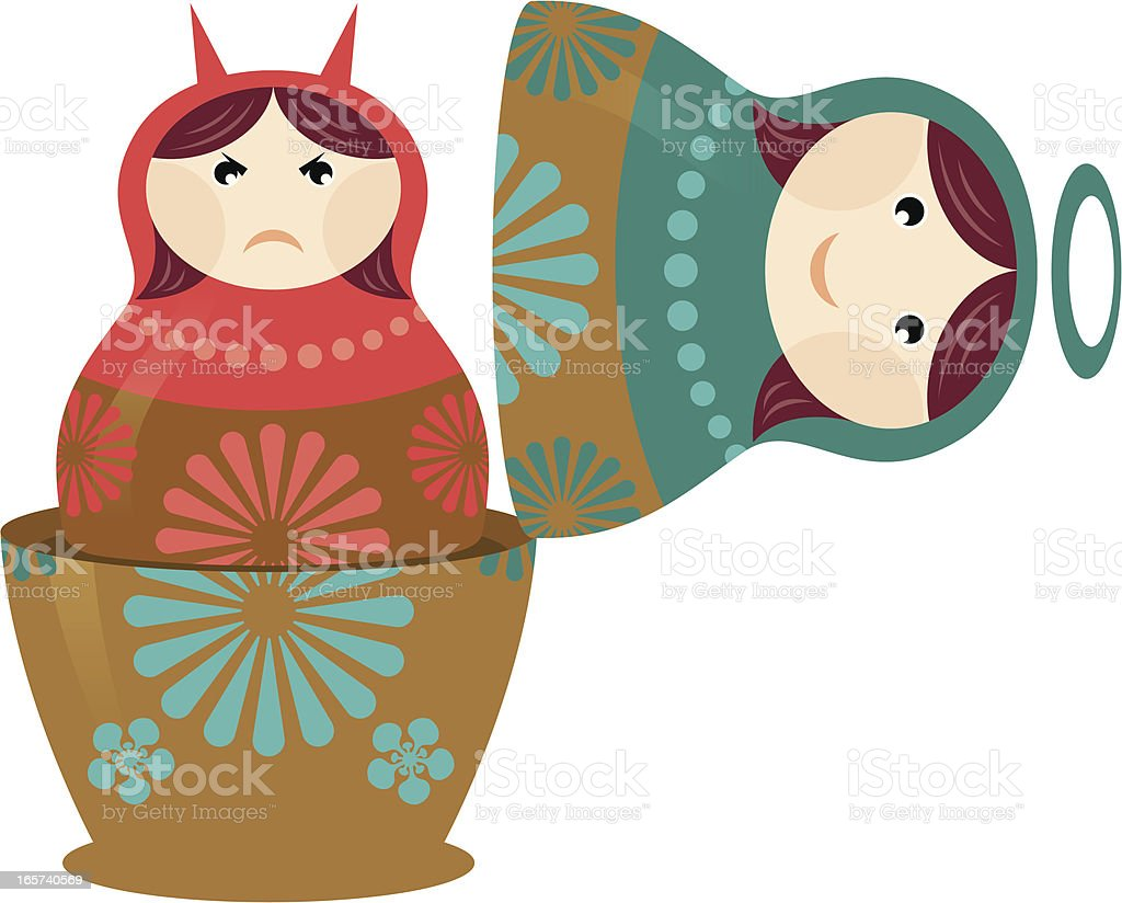 Good and bad matryoshka. royalty-free stock vector art
