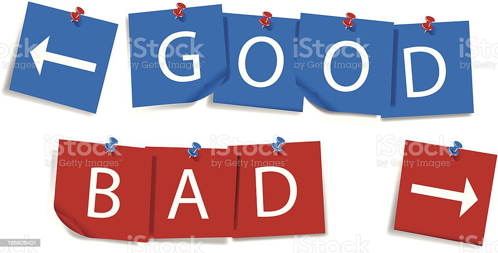Good and Bad | Sticky Notes with Thumbtacks royalty-free stock vector art