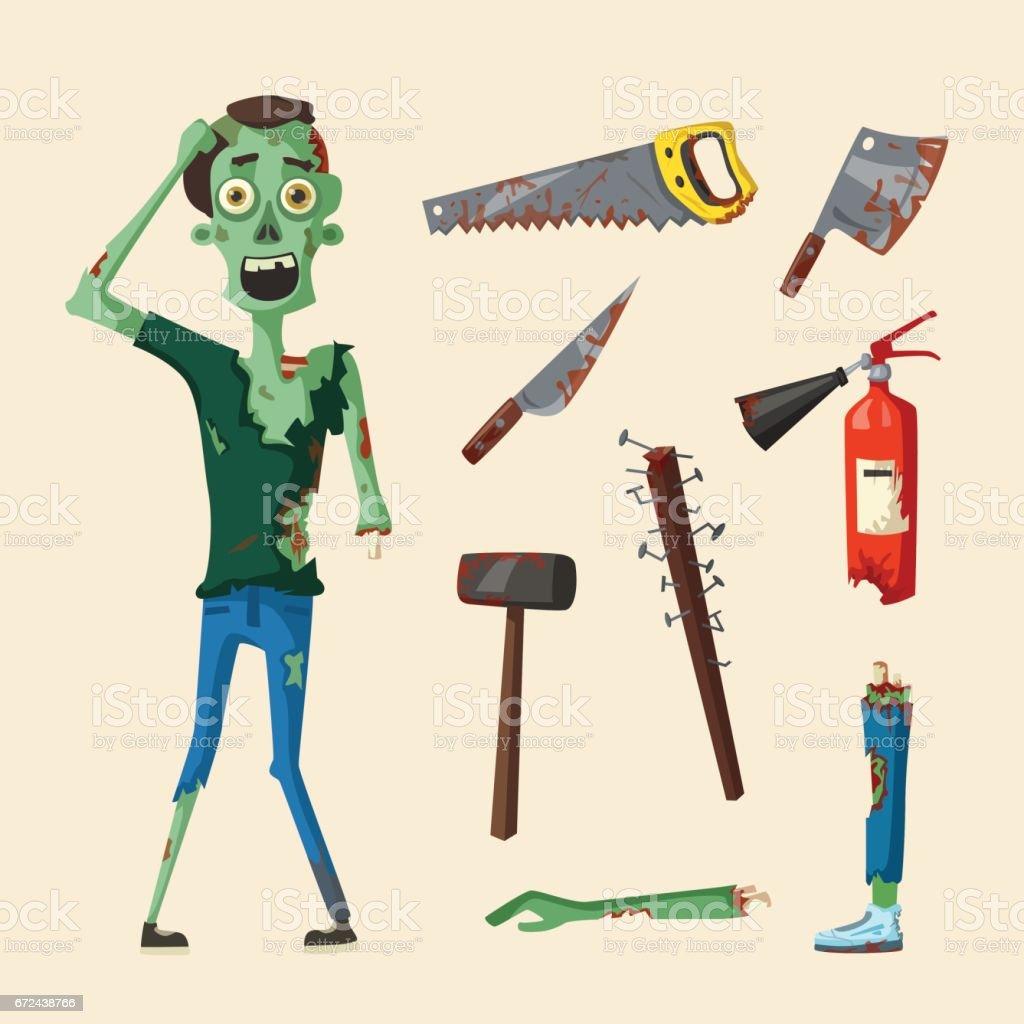 Good and bad zombie character. Cartoon vector illustration vector art illustration