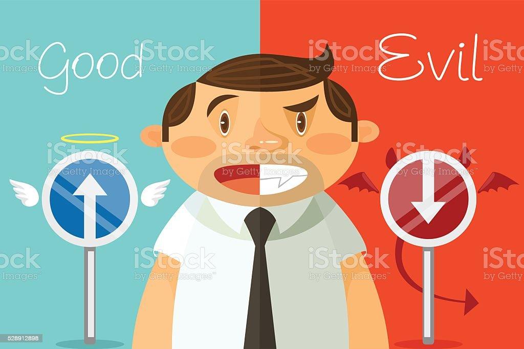 Good and evil. Vector flat cartoon illustration vector art illustration