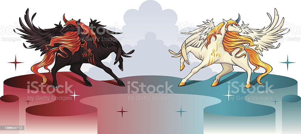 Good and evil with winged unicorns royalty-free stock vector art