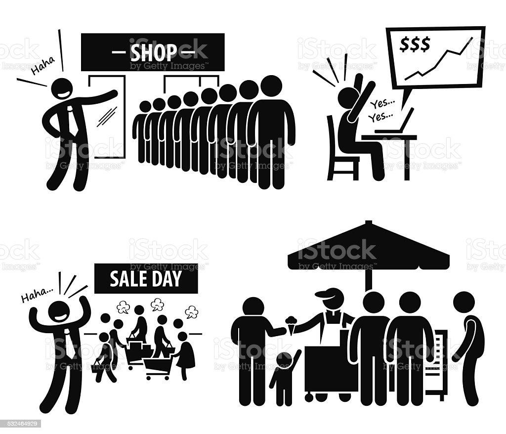Good Business Day Stick Figure Pictogram Icons vector art illustration