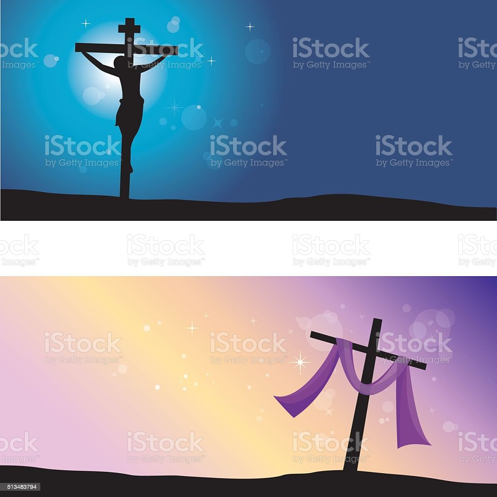 Good Friday and Easter day. vector art illustration