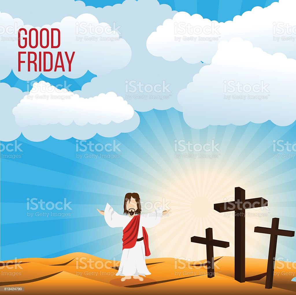Good Friday background concept Illustration of Jesus Christ with arm vector art illustration