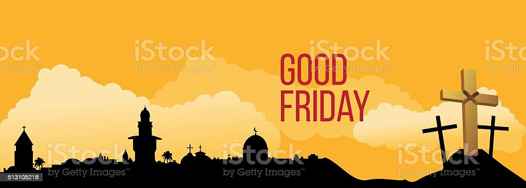 Good Friday background concept with Illustration of Jesus cross vector art illustration