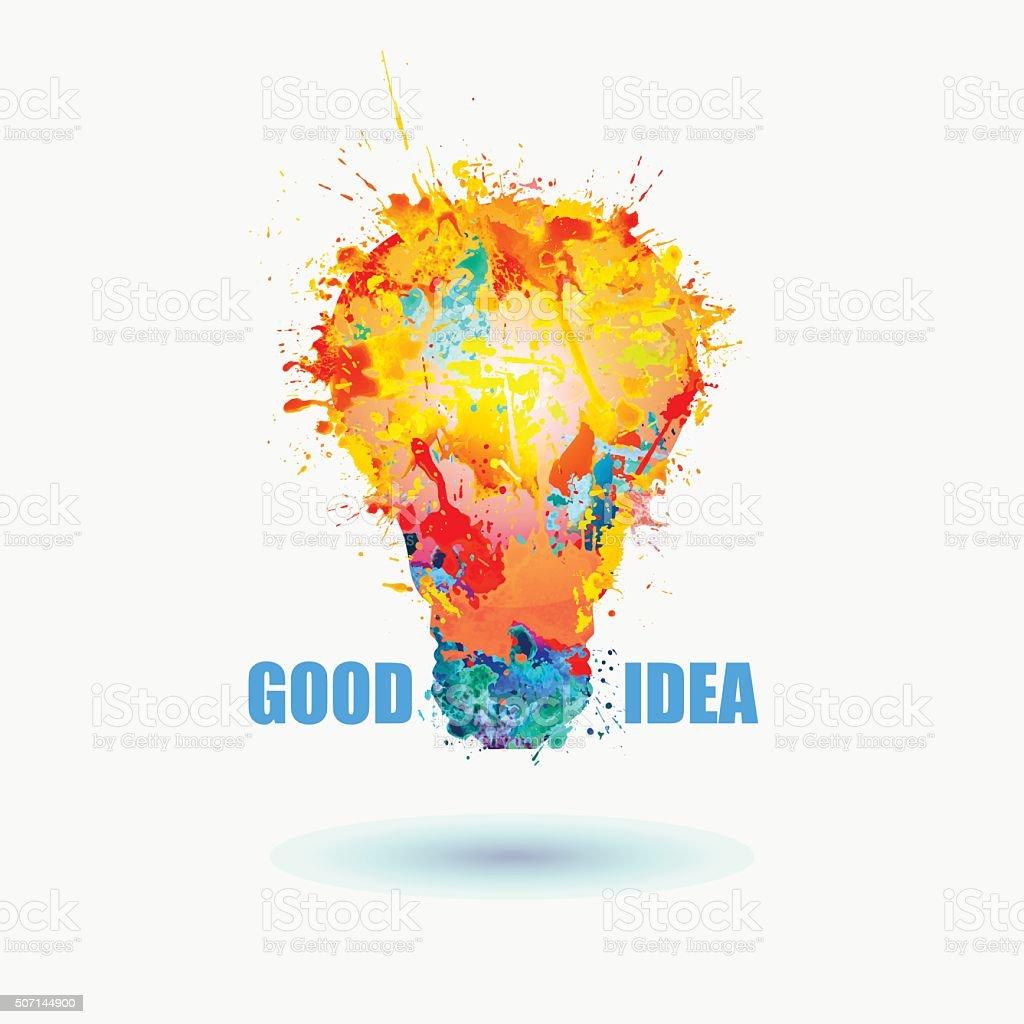 Good idea banner. Light lamp symbol. Vector Watercolor illustration. vector art illustration