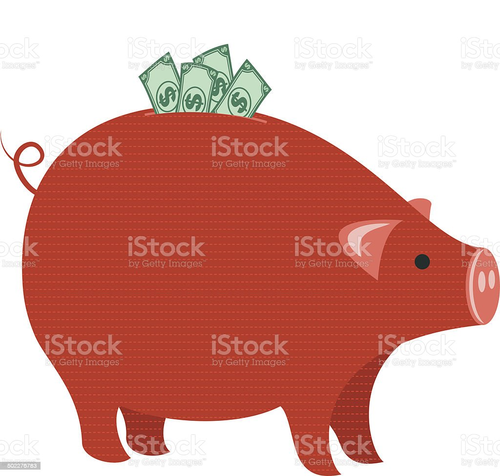 Good Investment. Piggy Bank With Lots Of Money royalty-free stock vector art