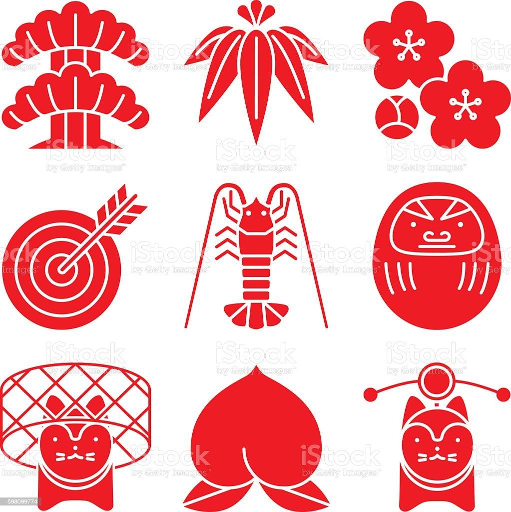 Good luck charms. Japanese style. vector art illustration