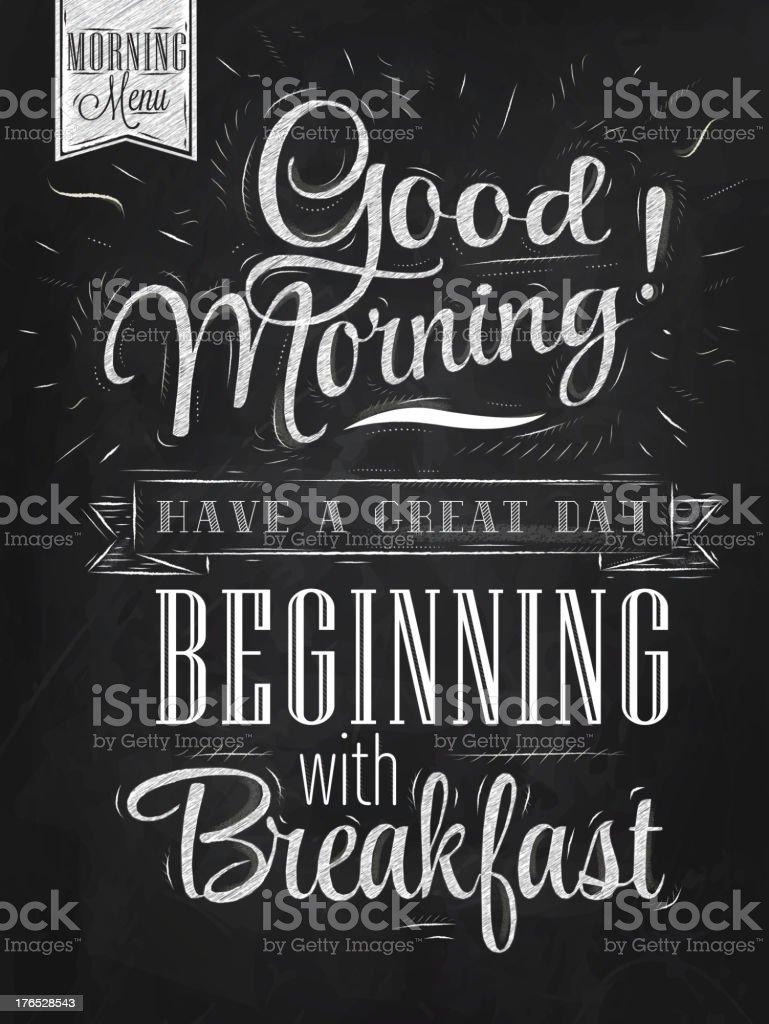 Good morning sayings written on chalkboard vector art illustration