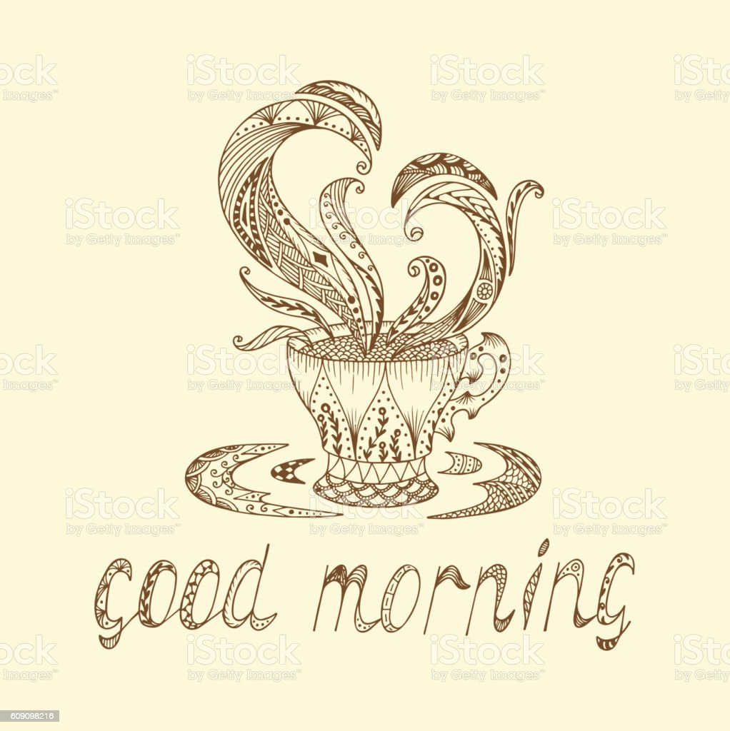 Good morning. Vector coffee or tea cup with abstract ornaments vector art illustration