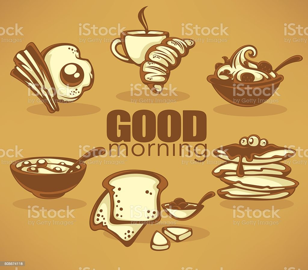 good morning, vector collection of traditional breakfast meal vector art illustration