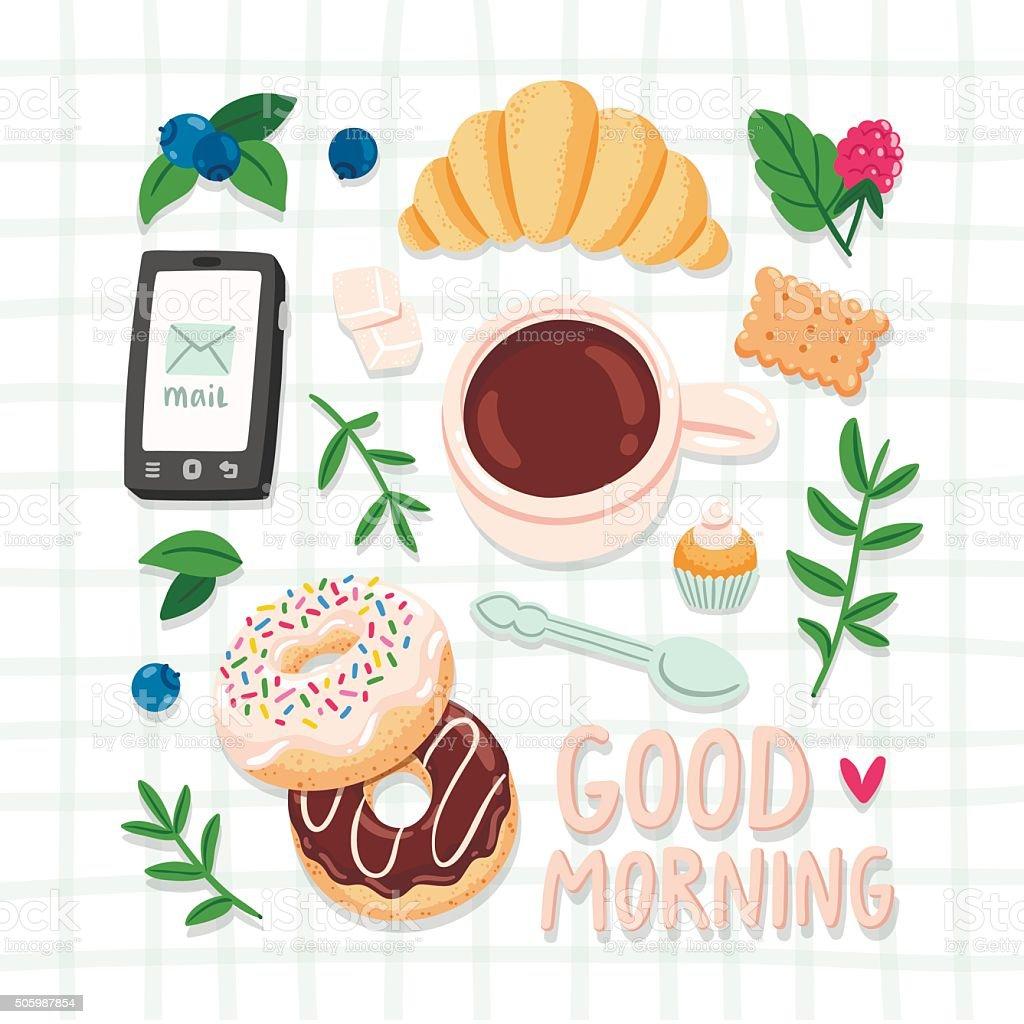 Good morning vector art illustration