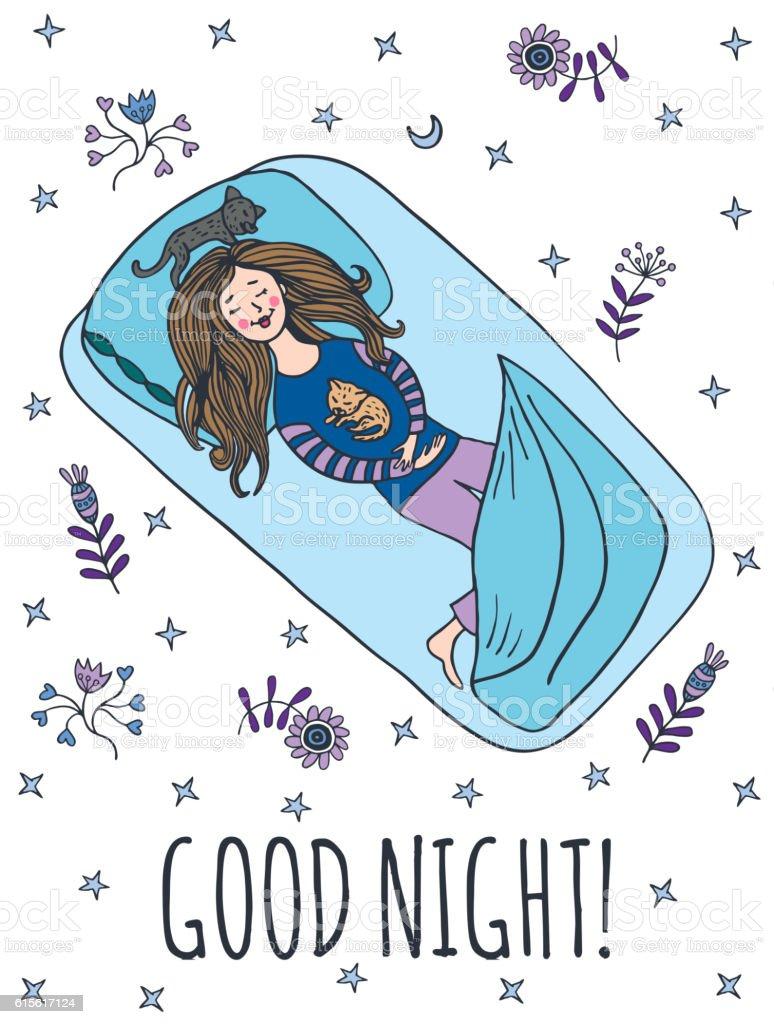 Good night card with sleeping girl vector art illustration