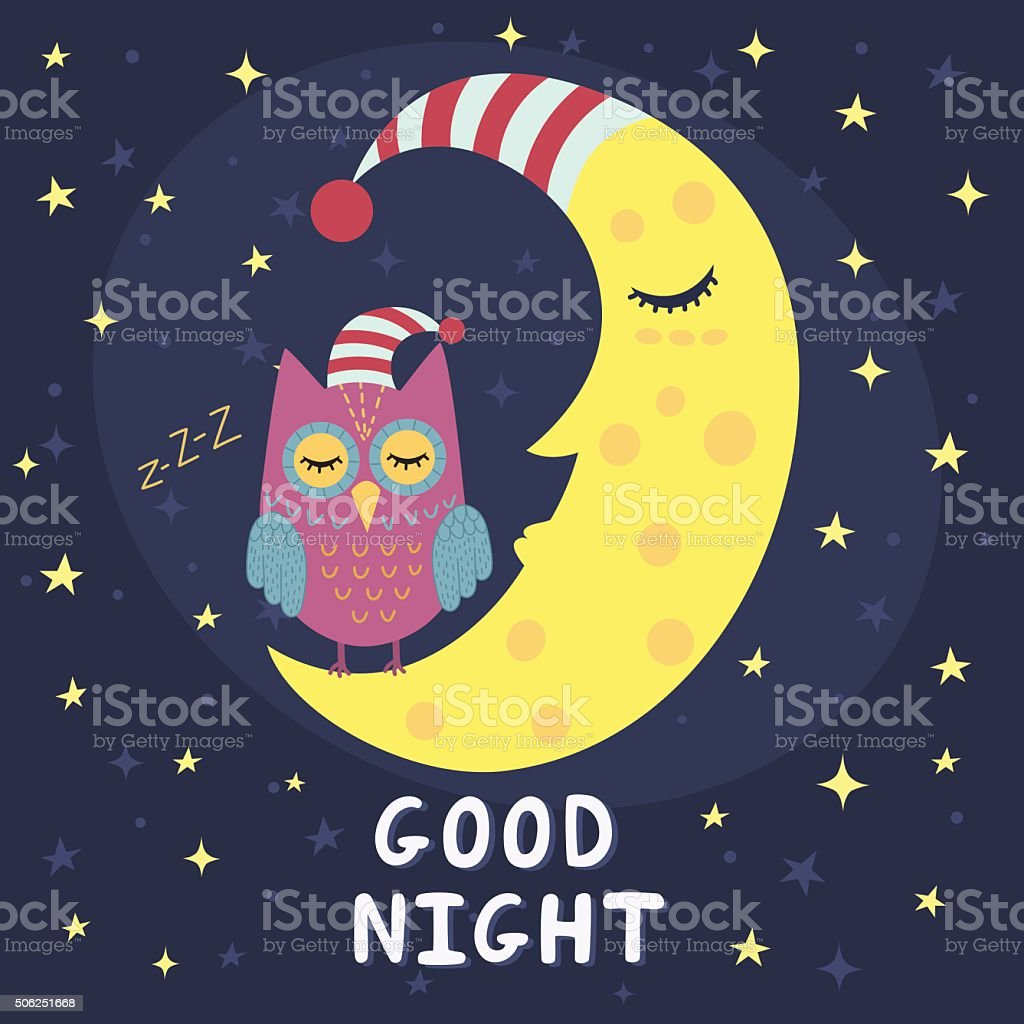 Good night card with sleeping moon and cute owl vector art illustration