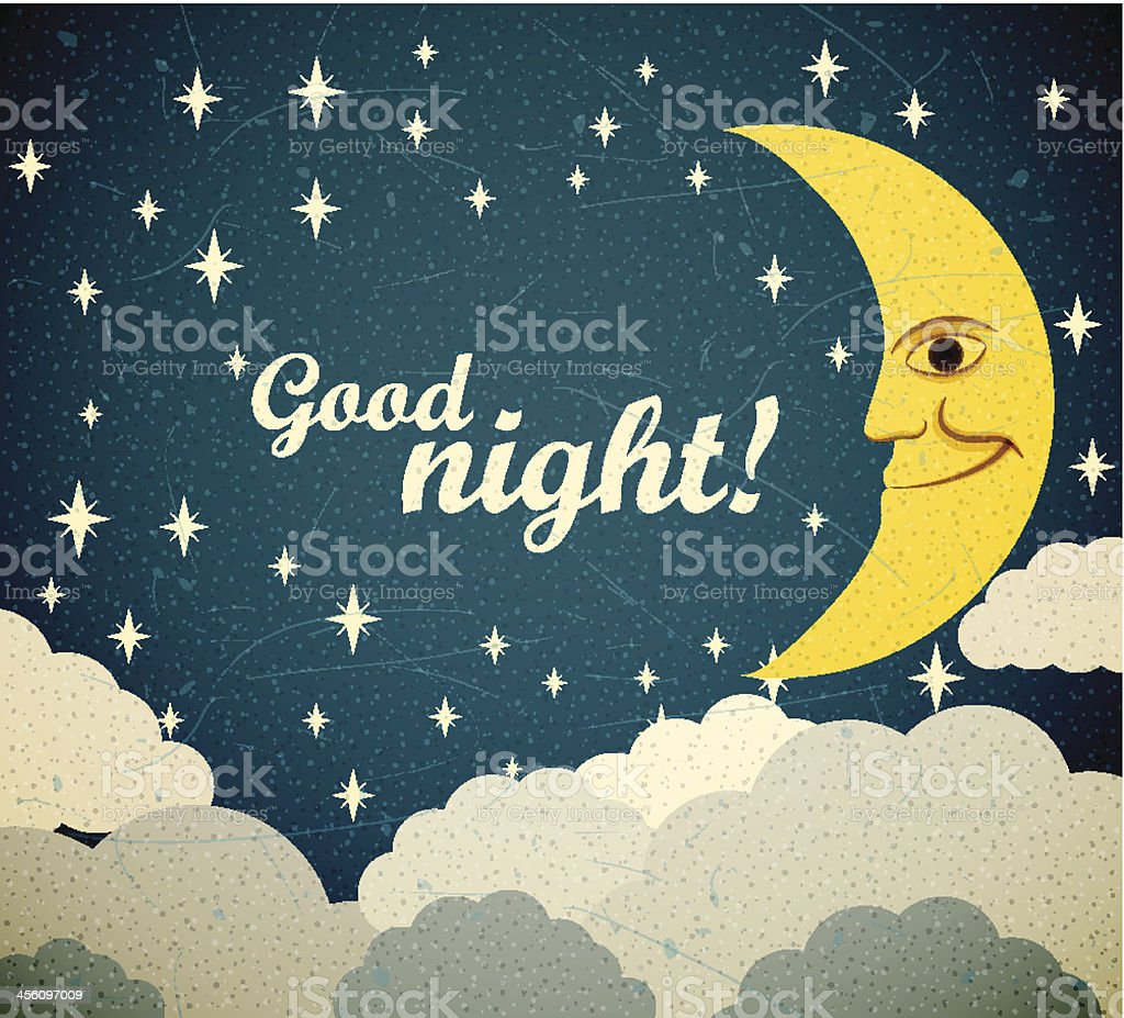 Good Night print on dark sky with moon, stars, and clouds vector art illustration