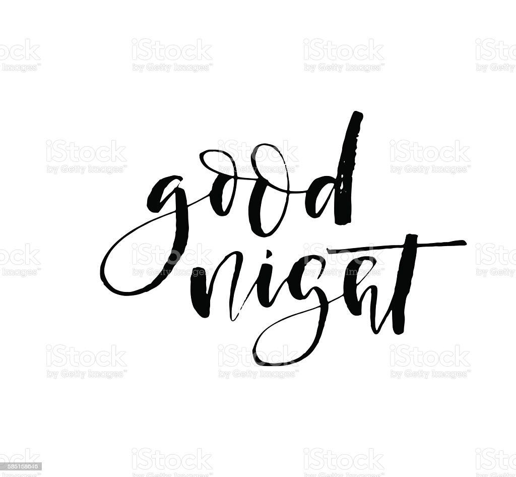Good night typography card. vector art illustration
