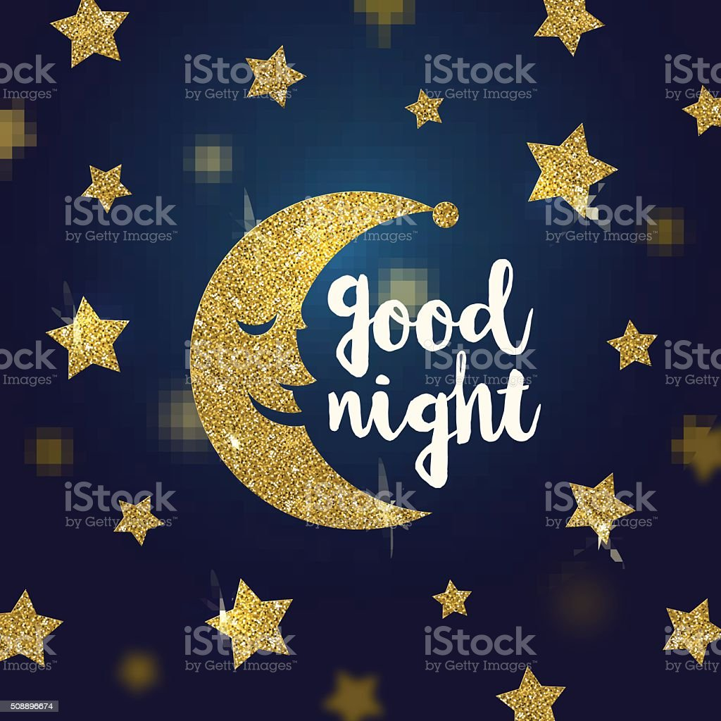 Good night wishes with glitter gold cartoon moon and stars vector art illustration