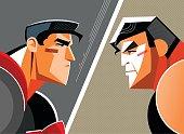 Good versus evil. Superhero.