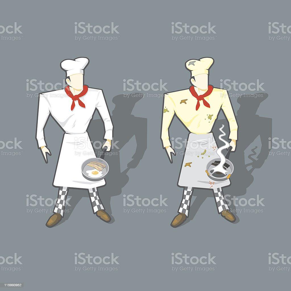 Good/Bad Chef. vector art illustration