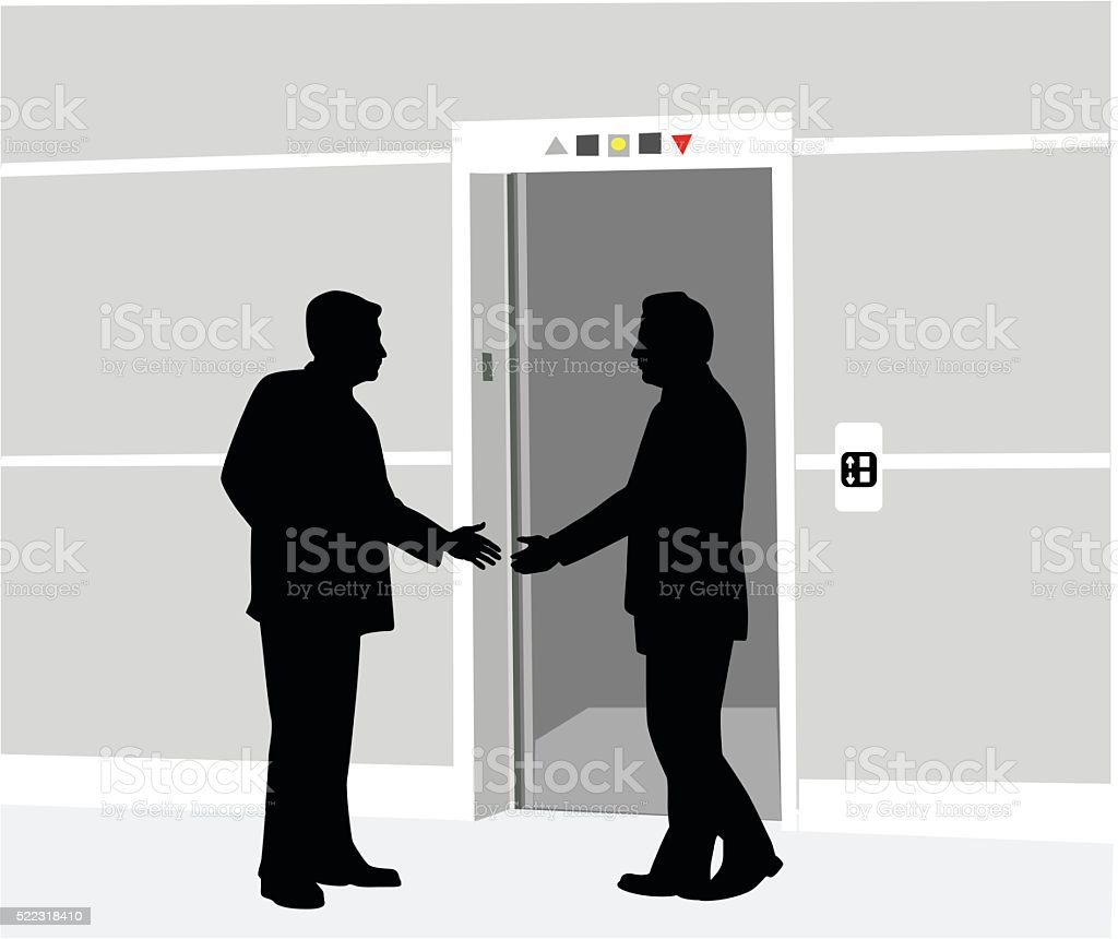 Au Revoir Handshake vector art illustration