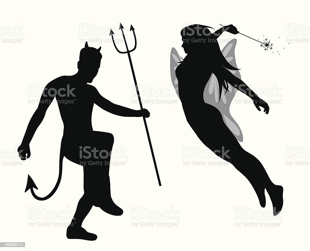 Good'n Evil Vector Silhouette royalty-free stock vector art