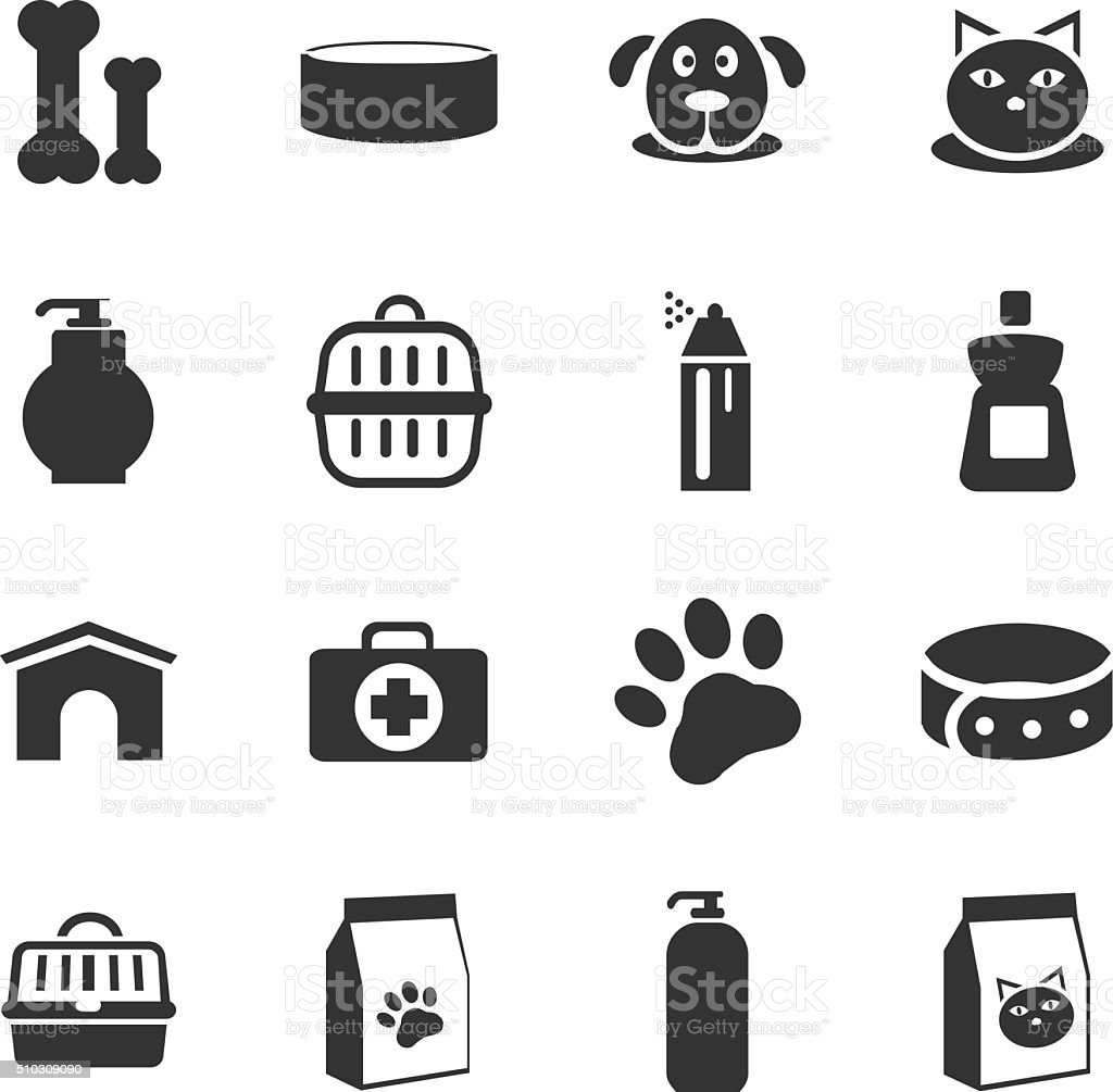 Goods for pets icons set vector art illustration