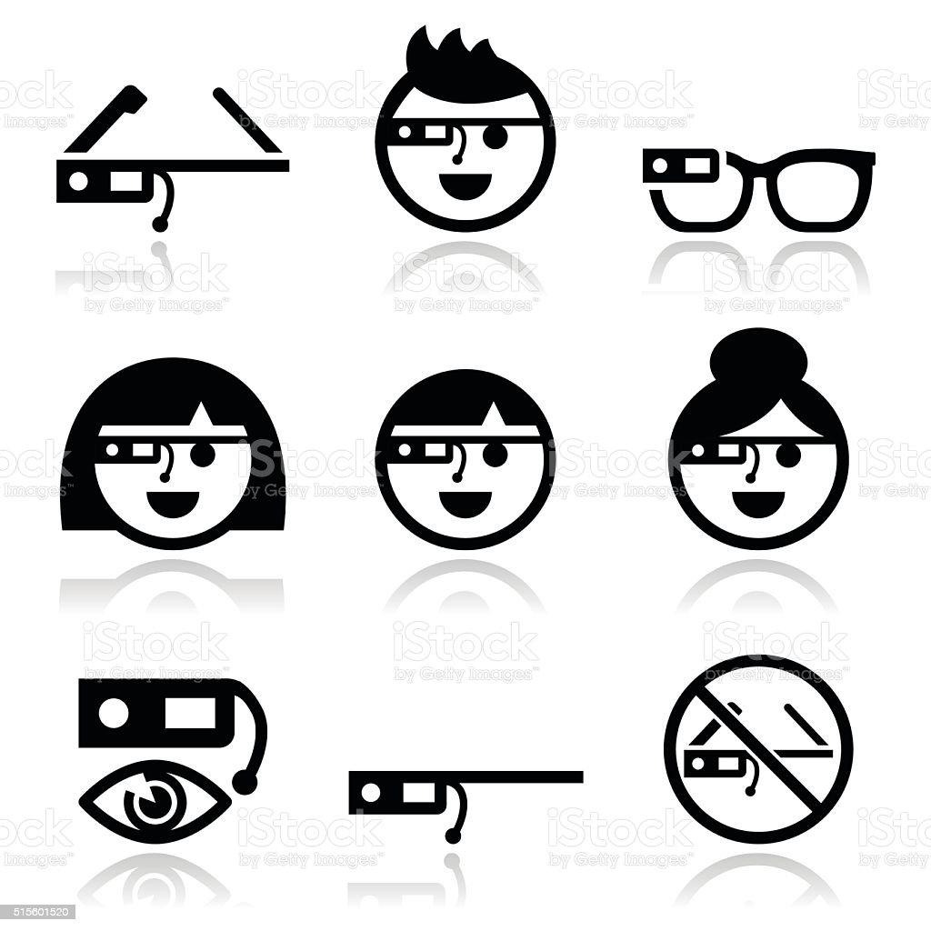 Google glass vector icons set vector art illustration