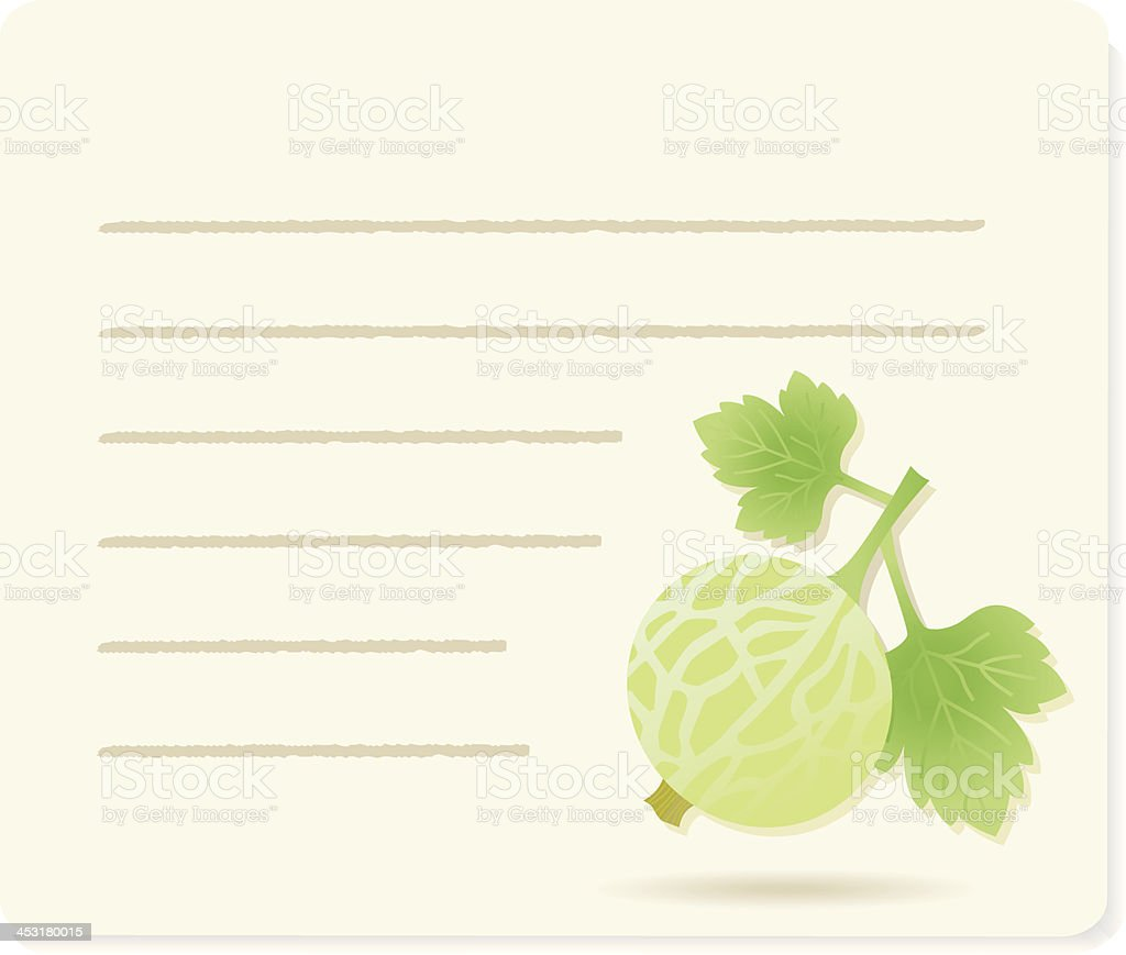 Gooseberry with leafs on recipepaper. royalty-free stock vector art