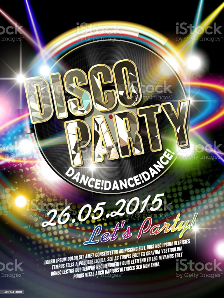 gorgeous disco party poster vector art illustration