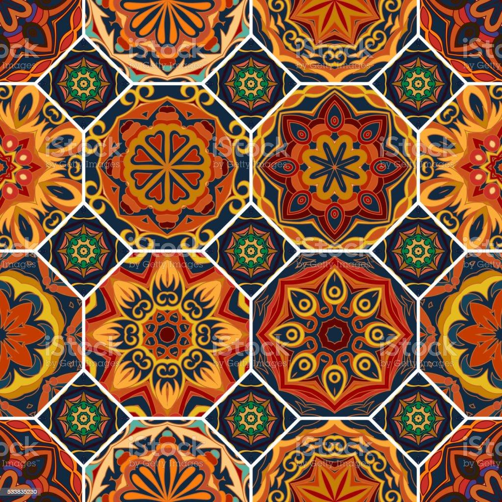 Gorgeous floral tile design vector art illustration