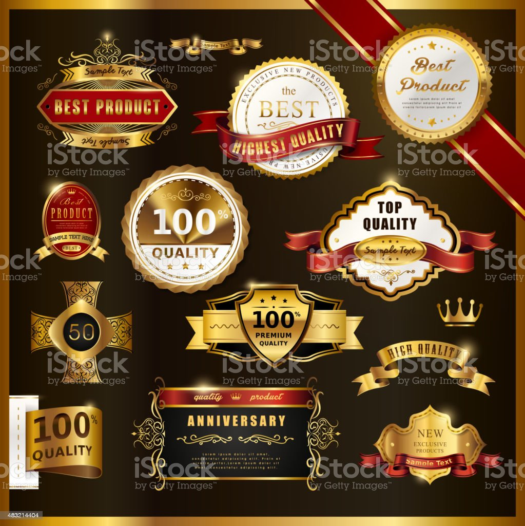 gorgeous premium quality golden labels collection vector art illustration