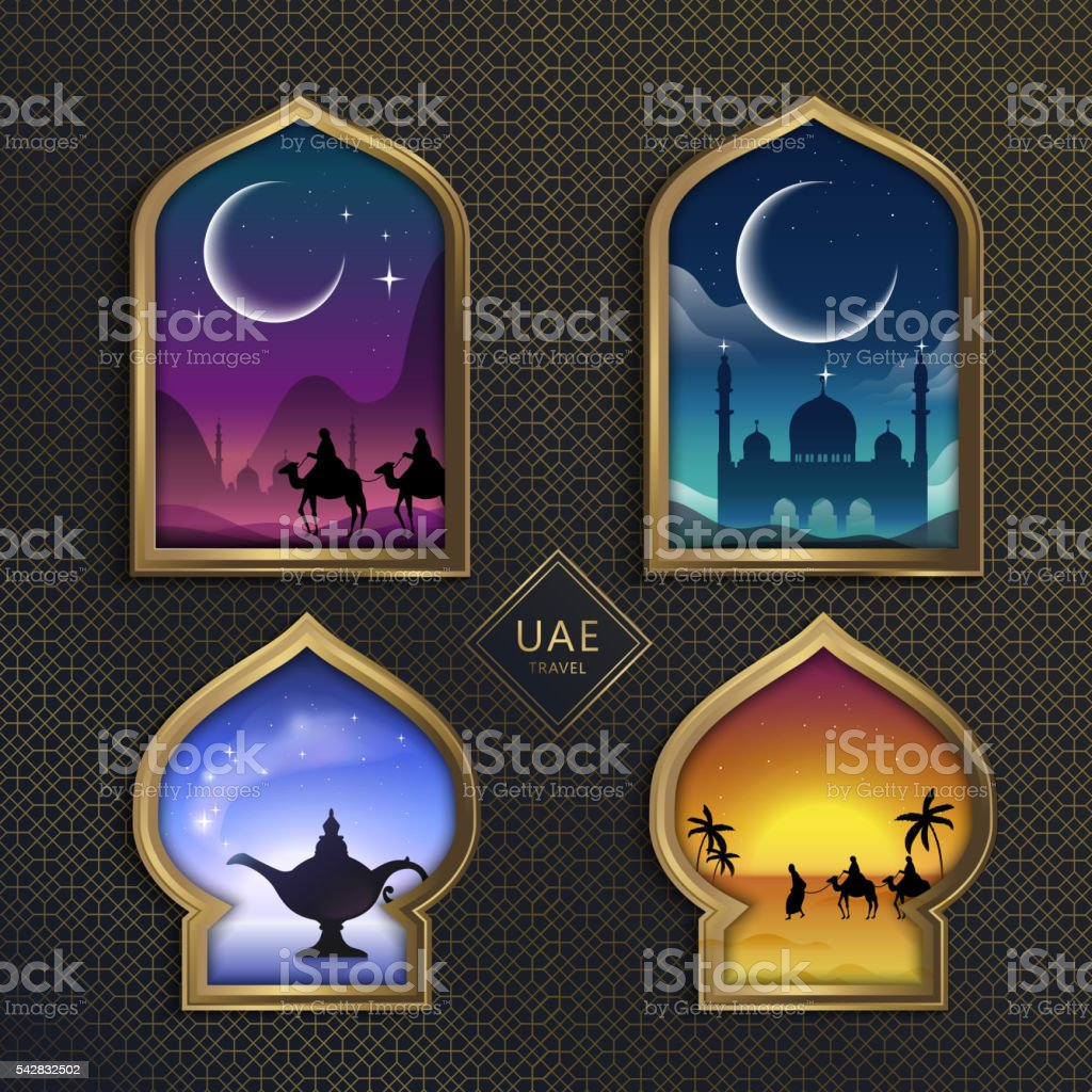 UAE gorgeous scenery vector art illustration