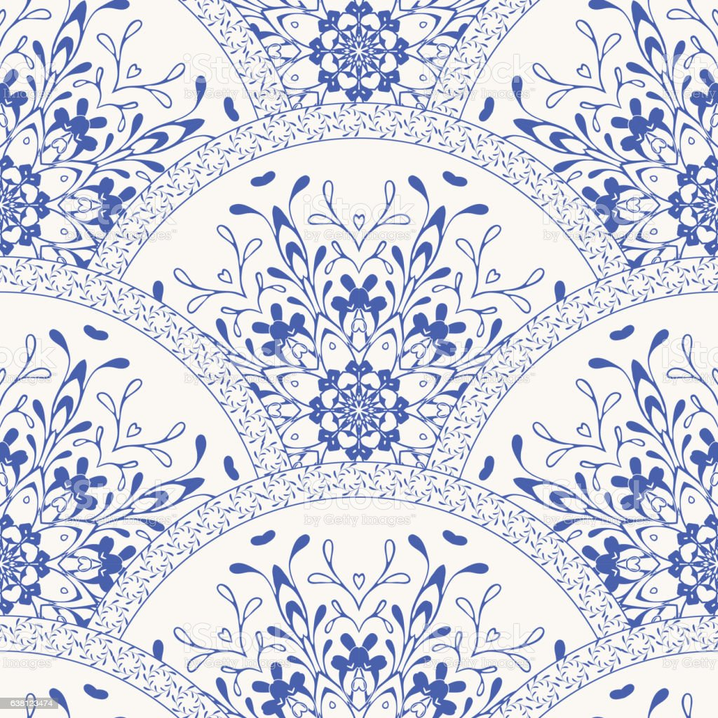 Vector of moroccan tile seamless pattern tile for design tile - Gorgeous Seamless Patchwork Pattern Dark Blue White Moroccan Tiles Ornaments Royalty Free Stock