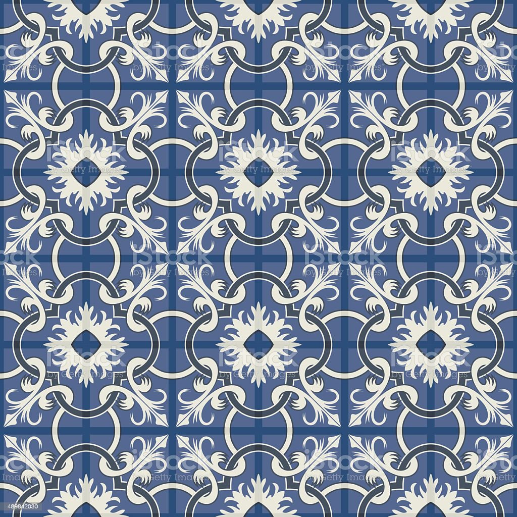 Gorgeous seamless patchwork pattern. Moroccan tiles, ornaments. vector art illustration