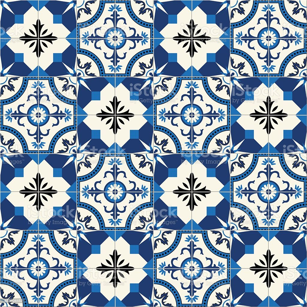Gorgeous seamless  pattern  white Turkish, Moroccan, Portuguese  tiles, Azulejo, ornament. vector art illustration