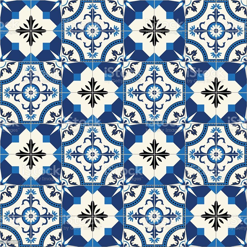 Gorgeous seamless  pattern  white Turkish, Moroccan, Portuguese  tiles, Azulejo, ornament. vector art illustration