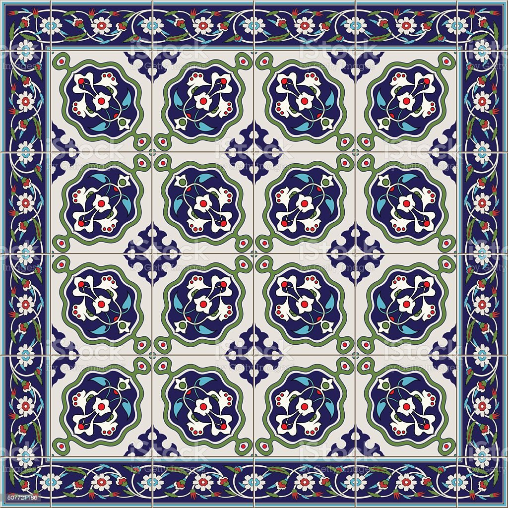 Gorgeous seamless  pattern  white Turkish tiles and border., ornaments. vector art illustration