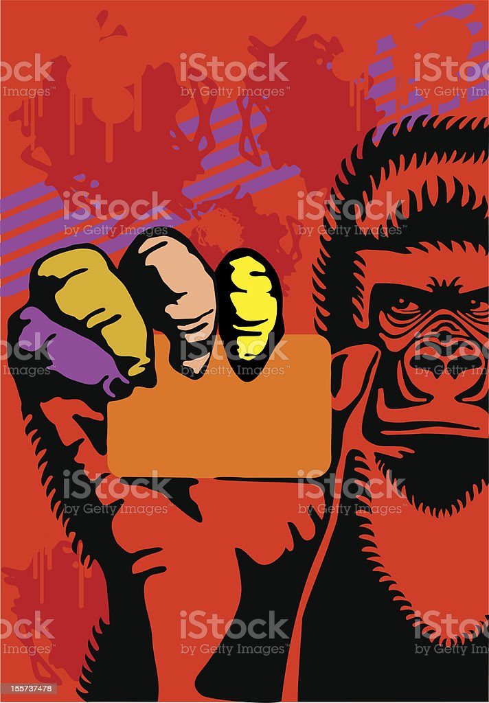 gorilla and a card royalty-free stock vector art