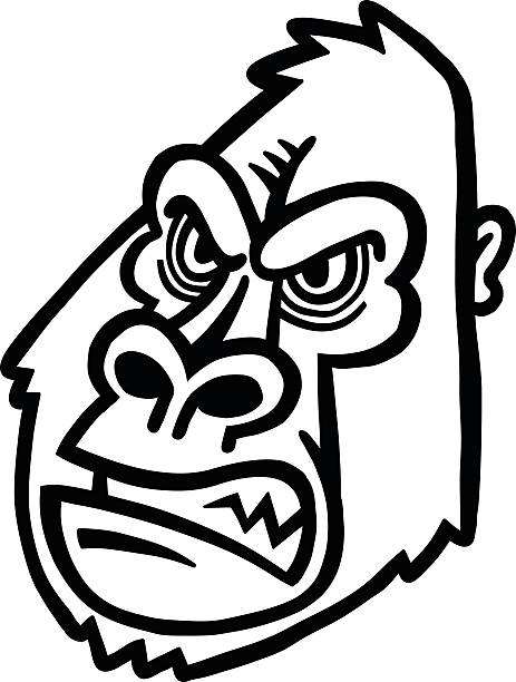 Gorilla Face Line Drawing : King kong monster clip art vector images illustrations