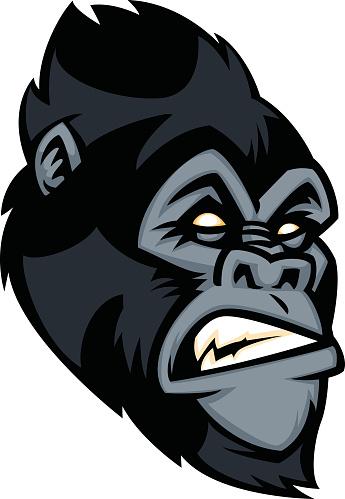Happy Cartoon Gorilla Face Sasquatch Cross...
