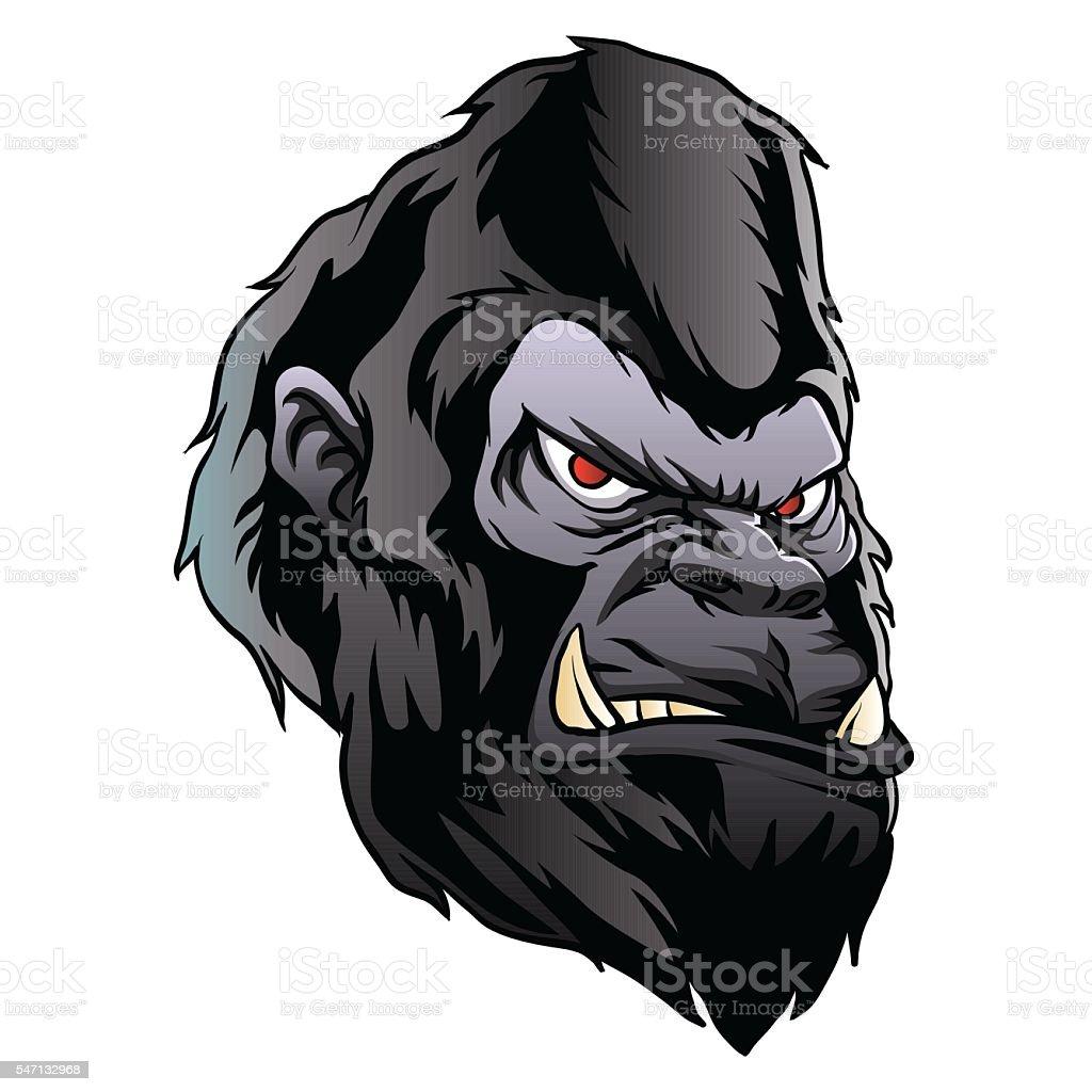 gorilla head illustration. vector art illustration