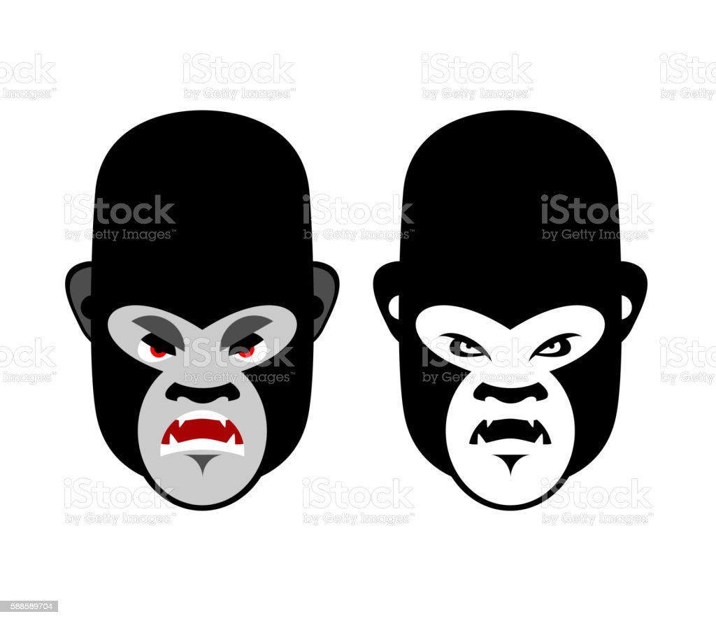 Gorilla mascot. Head of wild animal. Aggressive monkey. Logo for vector art illustration