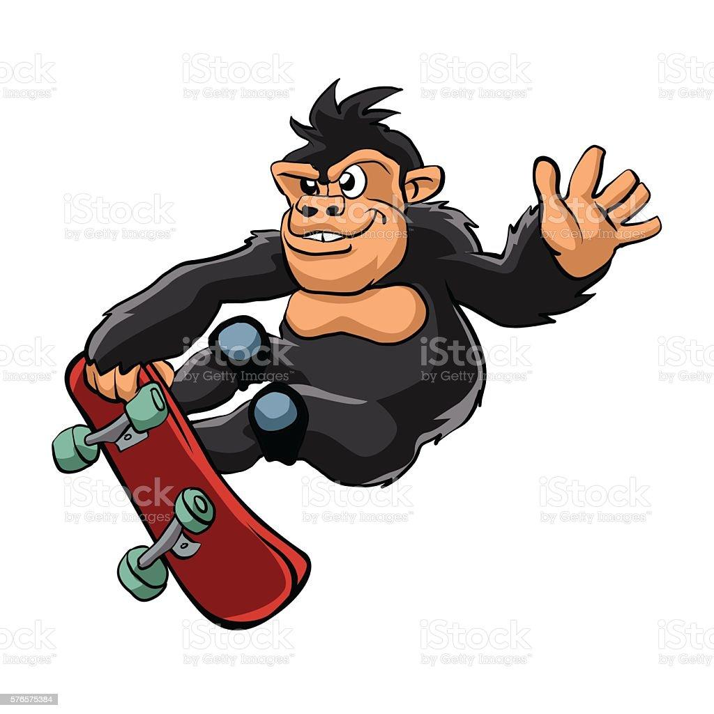 Gorilla skater cartoon. vector art illustration