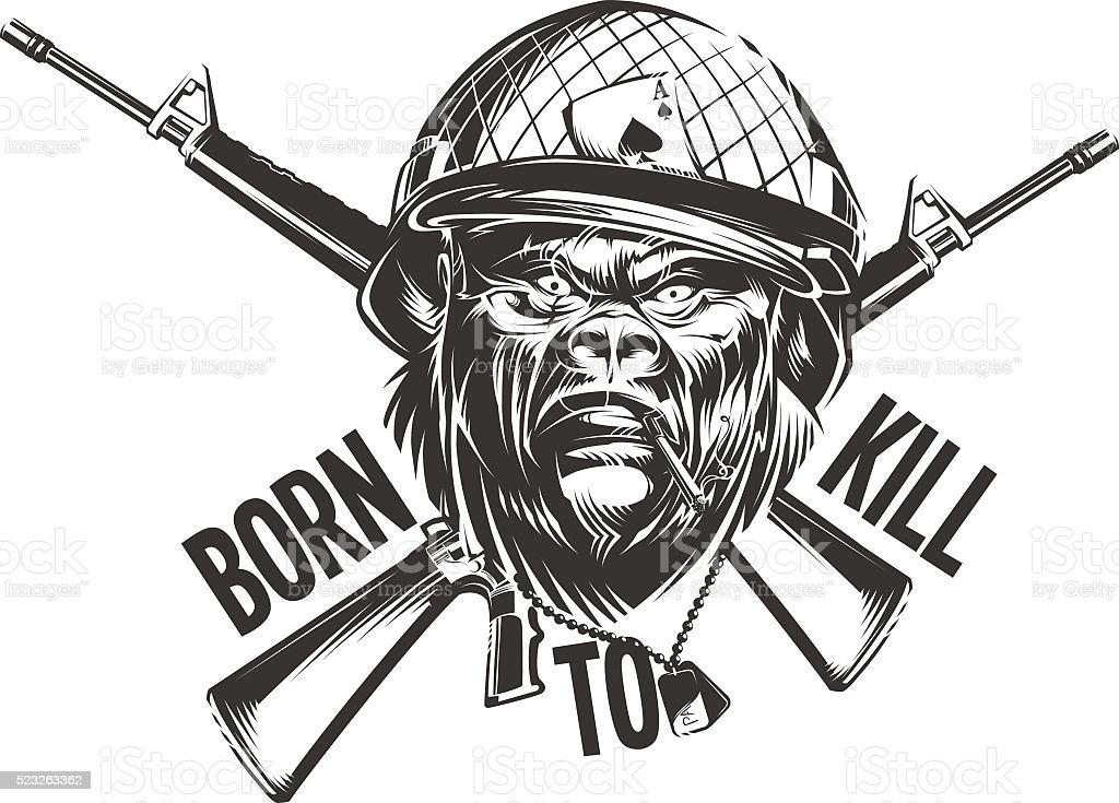 Gorilla Soldier vector art illustration