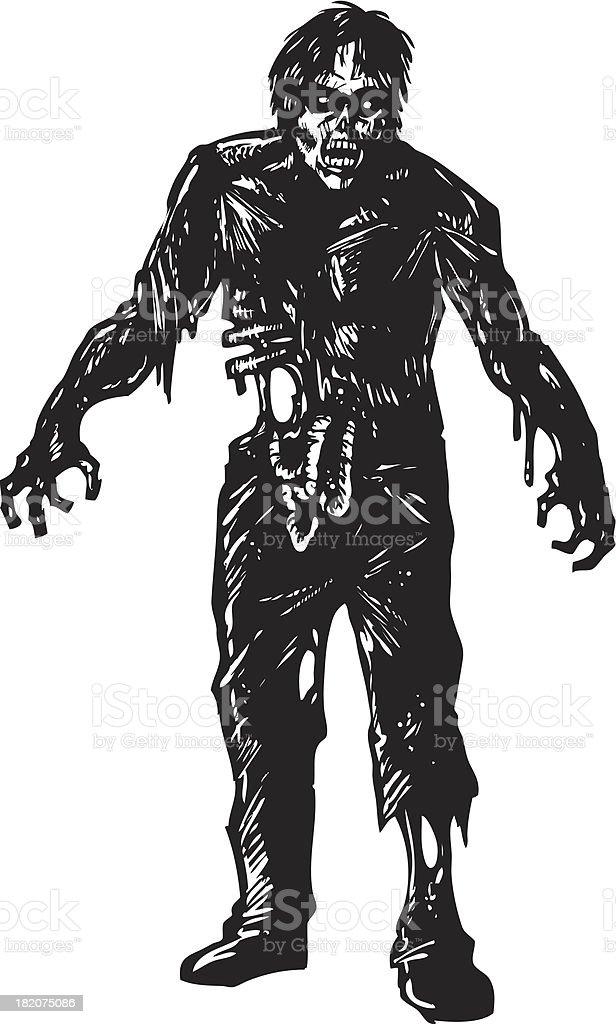 gory zombie vector art illustration