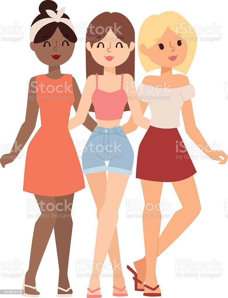 Gossip girls vector illustration. vector art illustration
