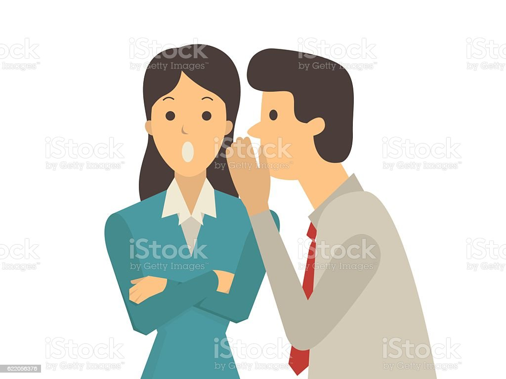 Gossip office workers vector art illustration